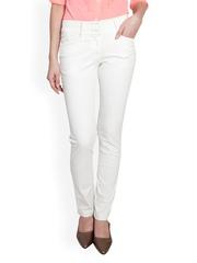 Women White Slim Fit Formal Trousers Kaaryah