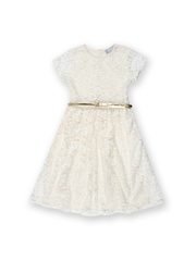 Kami Girls White Embroidered Fit & Flare Dress