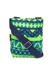 Kanvas Katha Blue & Green Sling Bag