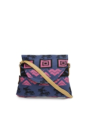 Kanvas Katha Blue Printed Sling Bag