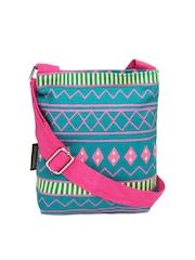 Kanvas Katha Green & Pink Sling Bag