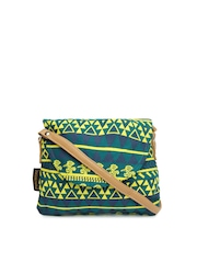 Kanvas Katha Green Printed Sling Bag