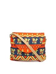 Kanvas Katha Orange Printed Sling Bag