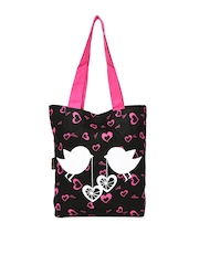 Kanvas Katha Women Black Printed Tote Bag