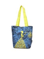 Kanvas Katha Women Blue and Black Printed Tote Bag