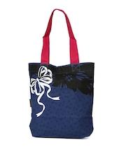 Kanvas Katha Women Navy Printed Tote Bag