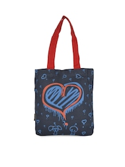 Kanvas Katha Women Navy Printed Tote Bag