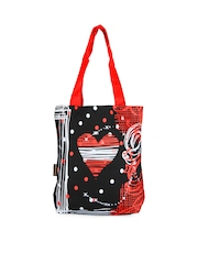 Kanvas Katha Women Red & Black Printed Tote Bag