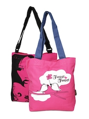 Kanvas Katha Women Set of 2 Pink Printed Tote Bags