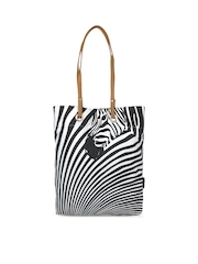 Kanvas Katha Women Black & White Tote Bag