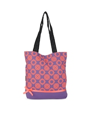 Kanvas Katha Women Purple Printed Tote Bag