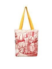 Kanvas Katha Women Cream Coloured Printed Tote Bag