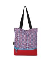 Kanvas Katha Women Red & Blue Printed Tote Bag