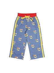 Keymon Ache Boys Blue & Yellow Printed Track Pants