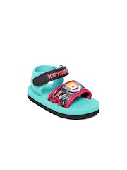 Keymon Ache Kids Black & Sea Green Sports Sandals