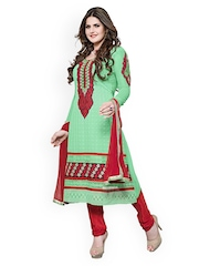 Khushali Green & Red Georgette Unstitched Dress Material