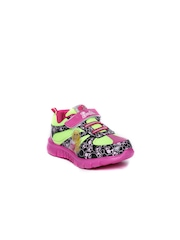 Kids Ville Barbie Girls Black and Fluorescent Green Casual Shoes