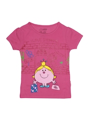 Kids Ville Girls Pink Mr. Men Little Miss Printed T-shirt