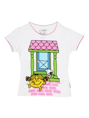 Kids Ville Girls White Mr. Men Little Miss Printed T-shirt