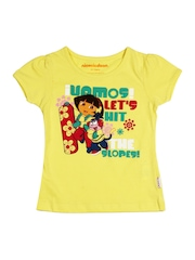 Kids Ville Girls Yellow Dora Printed T-Shirt