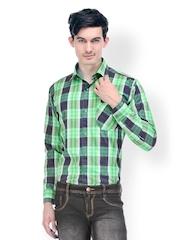 Kiosha Men Green & Blue Checked Slim Fit Casual Shirt