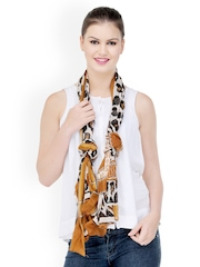 Kiosha Women Brown & White Animal Print Stole