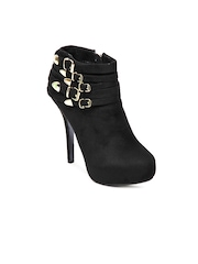 Kiss Kriss Women Black Heeled Shoes