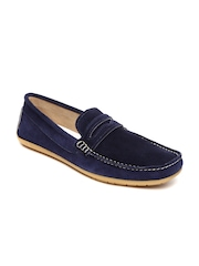 Knotty Derby Men Navy Suede Loafers