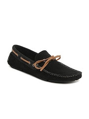Knotty Derby Men Black Riddle Suede Loafers