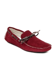 Knotty Derby Men Red Riddle Suede Boat Shoes