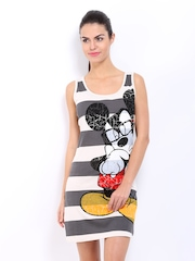 Kook N Keech Disney Grey and Off-White Striped Mickey Print Shift Dress
