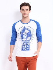 Kook N Keech Disney Men White & Blue Printed T-shirt