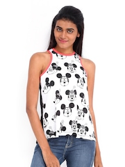 Kook N Keech Disney White & Black Printed Tank Top