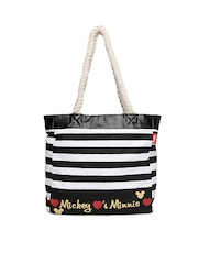 Kook N Keech Disney Women Black & White Sailor Striped Tote Bag