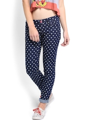 Kook N Keech Disney Women Navy Molly Skinny Fit Printed Jeans
