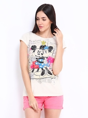Kook N Keech Disney Women Off-White Printed Top