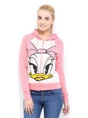 Kook N Keech Disney Women Pink Printed Hooded Sweatshirt