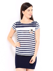 Kook N Keech Disney Women White & Navy Striped T-shirt