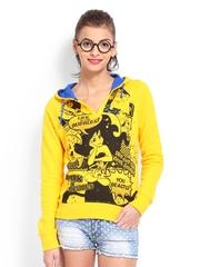 Kook N Keech Disney Women Yellow Arial Printed Hooded Sweatshirt