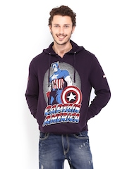 Kook N Keech Marvel Men Purple Captain America Printed Hooded Sweatshirt