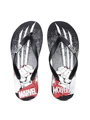 Kook N Keech Men Black Printed Wolverine Flip-Flops