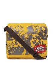 Kook N Keech Marvel Unisex Mustard Yellow Printed Messenger Bag