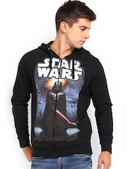 Kook N Keech Men Black Darth Vader Print Hooded Sweatshirt