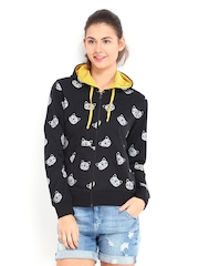 Kook N Keech Women Black Printed Hooded Sweatshirt