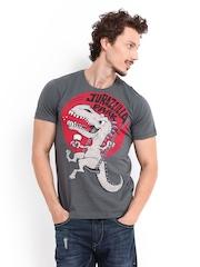 Kook N Keech Men Charcoal Grey Jurazzilla Park Printed T-shirt