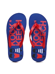 Kook N Keech Men Red & Blue Printed Flip Flops