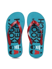 Kook N Keech Men Red & Blue Printed Flip Flops