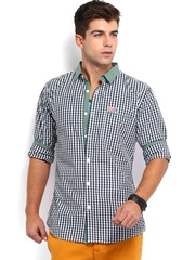 Kook N Keech Men Green & White Checked Casual Shirt