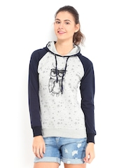 Kook N Keech Women Grey Melange & Navy Printed Hooded Sweatshirt
