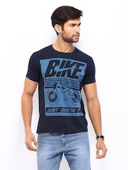Kook N Keech Men Navy Printed T-shirt